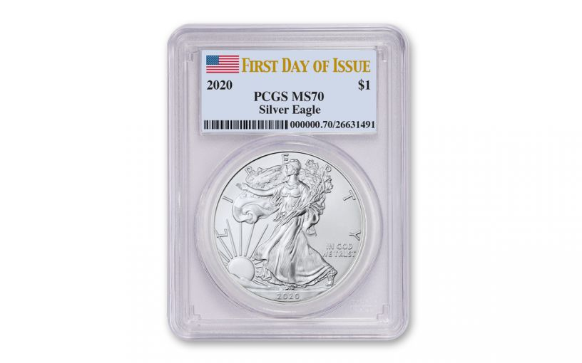 2020 $1 1-oz Silver Eagle PCGS MS70 First Day of Issue w/Flag Label