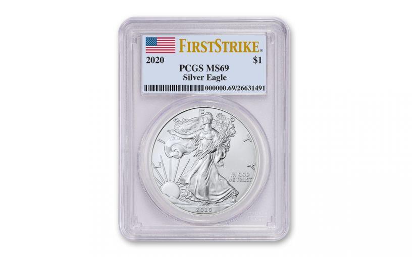 2020 $1 1-oz Silver Eagle PCGS MS69 First Strike w/Flag Label