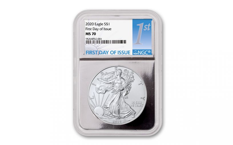 2020 $1 1-oz Silver Eagle NGC MS70 First Day of Issue w/Silver Foil Core
