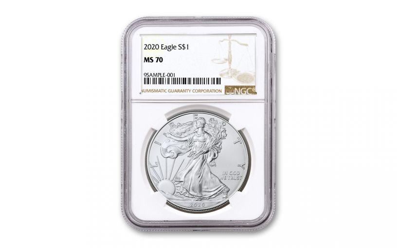 2020 $1 1-oz Silver Eagle NGC MS70 w/Brown Label