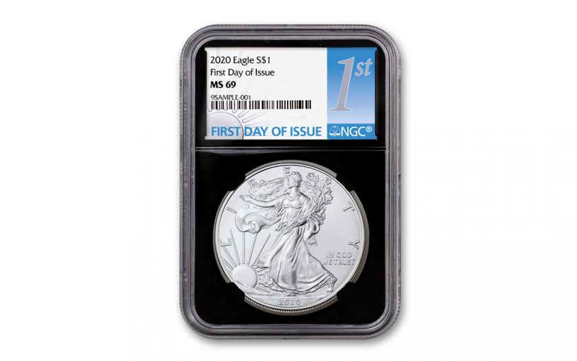 2020 $1 1-oz Silver Eagle NGC MS69 First Day of Issue w/Black Core