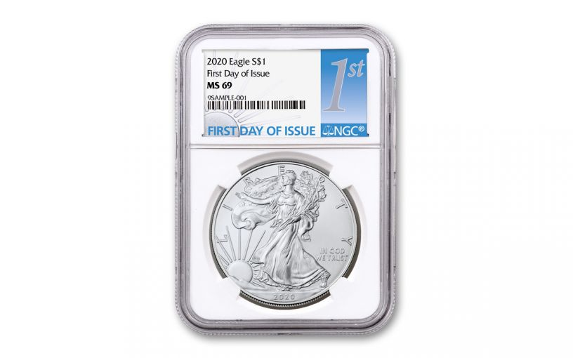 2020 $1 1-oz Silver Eagle NGC MS69 First Day of Issue