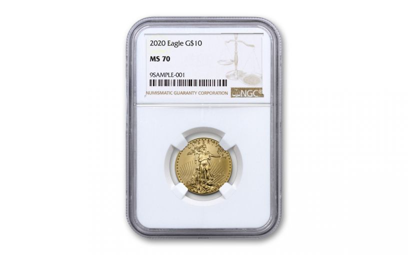 2020 $10 1/4-oz Gold American Eagle NGC MS70 w/Brown Label