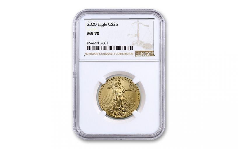 2020 $25 1/2-oz Gold American Eagle NGC MS70 w/Brown Label