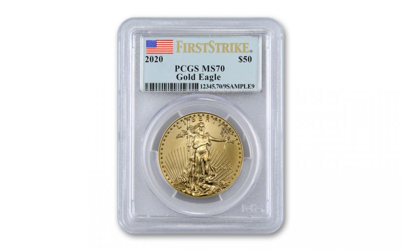 2020 $50 1-oz Gold American Eagle PCGS MS70 First Strike w/Flag Label