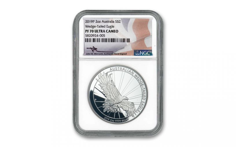 2019 Australia $2 2-oz Silver Wedge Tailed Eagle Piedfort Proof NGC PF70UC w/Mercanti Signature
