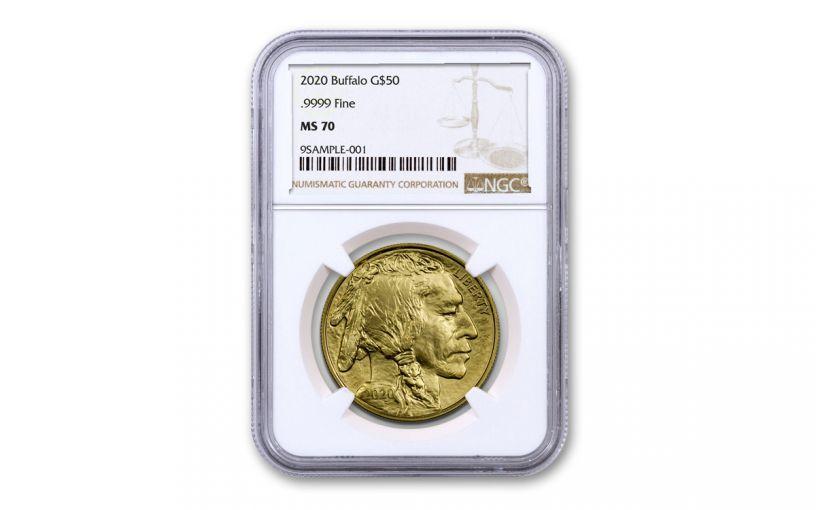 2020 $50 1OZ GOLD BUFFALO NGC MS70 BROWN