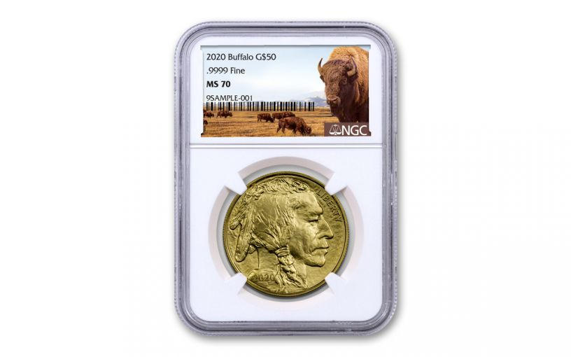 2020 $50 1-oz Gold Buffalo NGC MS70 w/Buffalo Label