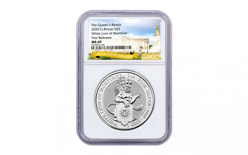 2020 Great Britain £5 2-oz Silver Queen's Beasts White Lion of Mortimer NGC MS69 First Releases