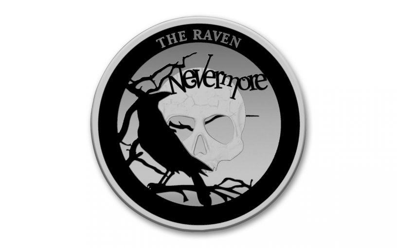 2020 Niue $5 2-oz Silver The Raven Nevermore Proof w/Black Rhodium