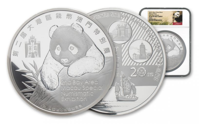 2019 China 20-oz Silver Macau Numismatic Society Expo Show Panda PF69UC First Day of Issue