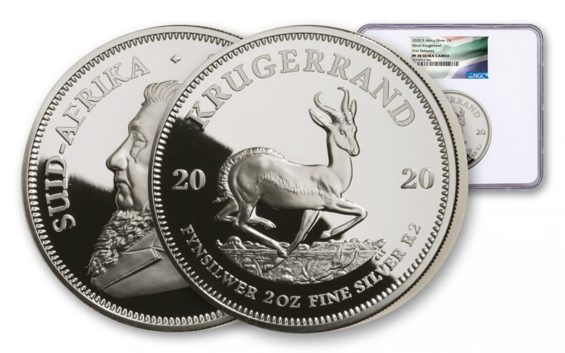2020 South Africa 2-oz Silver Krugerrand Proof NGC PF70UC First Releases w/Flag Label