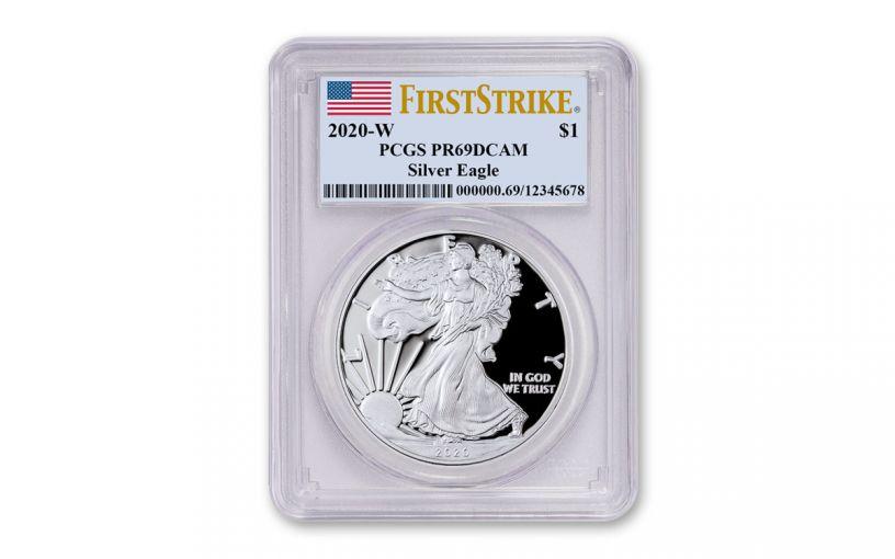 2020-W $1 1-oz American Silver Eagle PCGS PR69 First Strike w/Flag Label