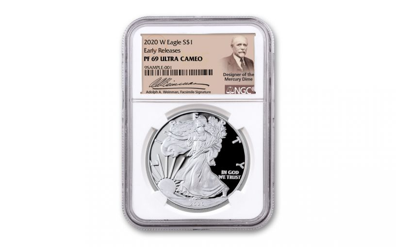 2020-W $1 1-oz American Silver Eagle NGC PF69UC Early Releases w/Weinman Label