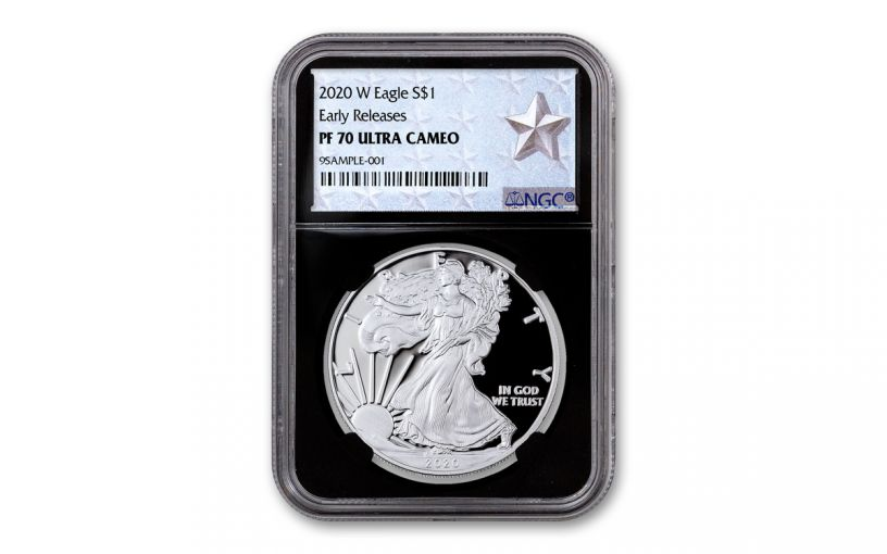 2020-W $1 1-oz American Silver Eagle NGC PF70UC Early Releases w/Black Core & Silver Star Label