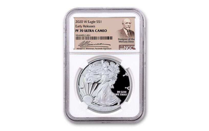 2020-W $1 1-oz Silver Eagle NGC PF70 UC ER WEINMAN
