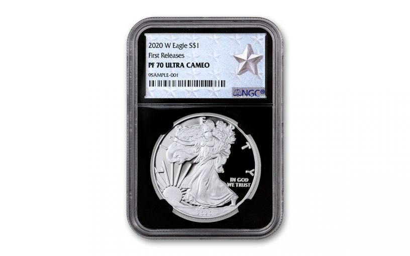 2020-W $1 1-oz American Silver Eagle NGC PF70UC First Releases w/Black Core & Silver Star Label