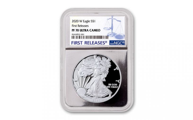 2020-W $1 1-oz American Silver Eagle NGC PF70UC First Releases w/Silver Foil Core