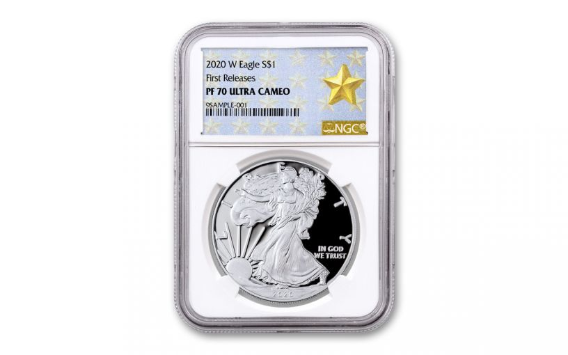 2020-W $1 1-oz American Silver Eagle NGC PF70UC First Releases w/Gold Star Label
