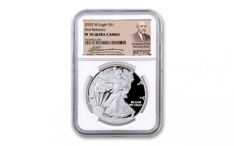 2020-W $1 1-oz American Silver Eagle NGC PF70UC First Releases w/Weinman Label