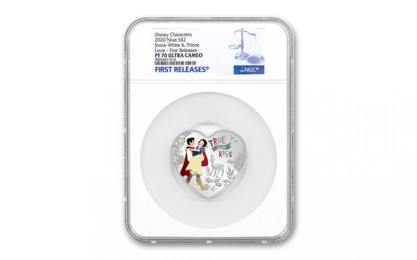 2020 Niue $2 1-oz Silver Snow White Heart-Shaped Colorized Proof NGC PF70UC First Releases