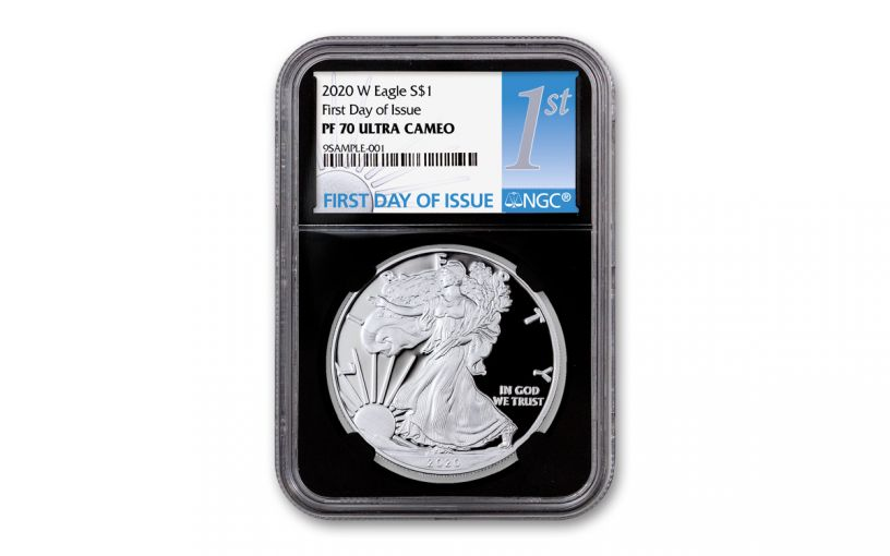 2020-W $1 1-oz American Silver Eagle NGC PF70UC First Day of Issue w/Black Core