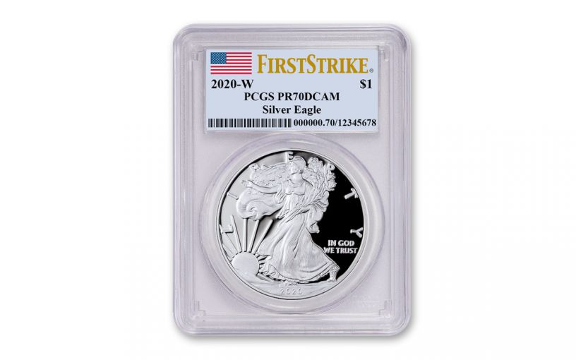 2020-W $1 1-oz American Silver Eagle PCGS PR70 DCAM First Strike w/Flag Label