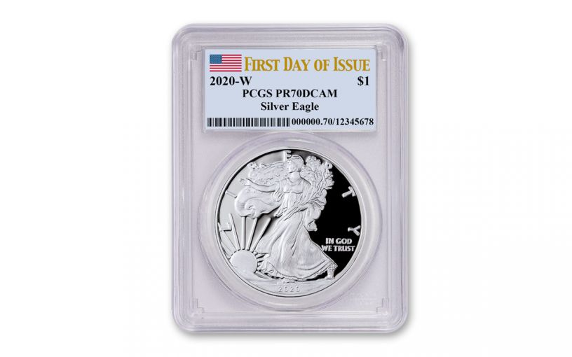 2020-W $1 1-oz American Silver Eagle PCGS PR70 DCAM First Day of Issue w/Flag Label