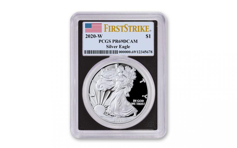 2020-W $1 1-oz American Silver Eagle PCGS PR69 DCAM First Strike w/Black Core & Flag Label