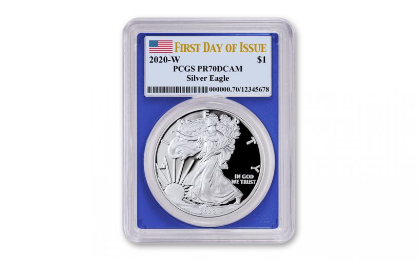 2020-W $1 1-oz American Silver Eagle PCGS PR70 DCAM First Day of Issue w/Blue Core & Flag Label