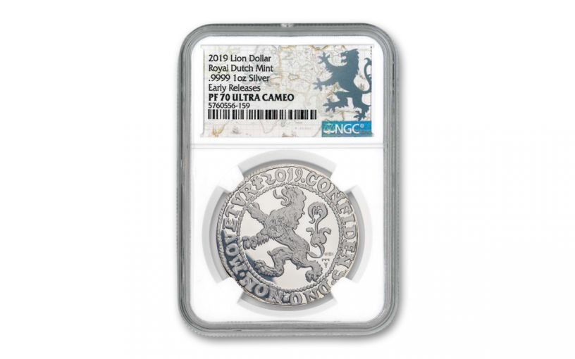 2019 Netherlands 1-oz Silver Lion Dollar NGC PF70 Early Releases w/Lion Dollar Label