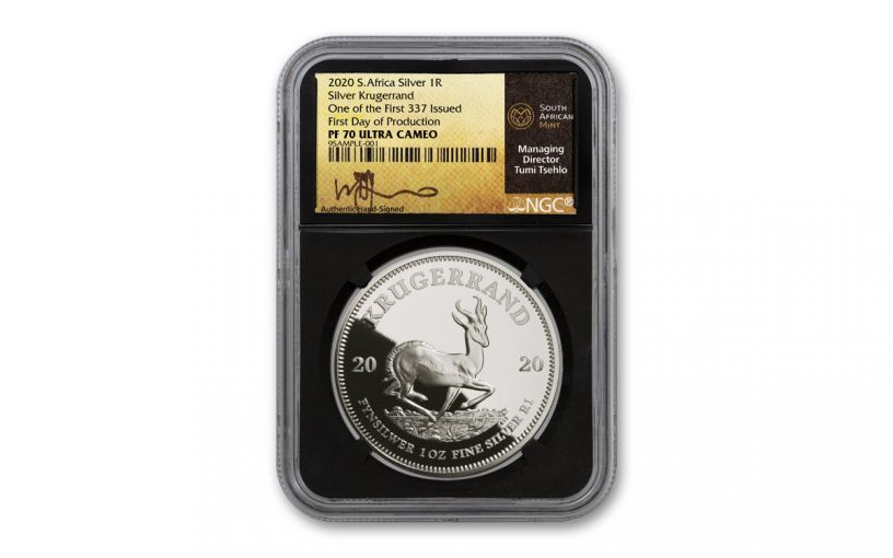 2020 South Africa 1-oz Silver Krugerrand Proof NGC PF70UC One of First 337 Struck w/Black Core & Tumi Signed Gold Label