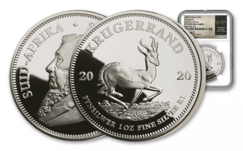 2020 South Africa 1-oz Silver Krugerrand Proof NGC PF70UC First Day of Issue w/Tumi Signed Label