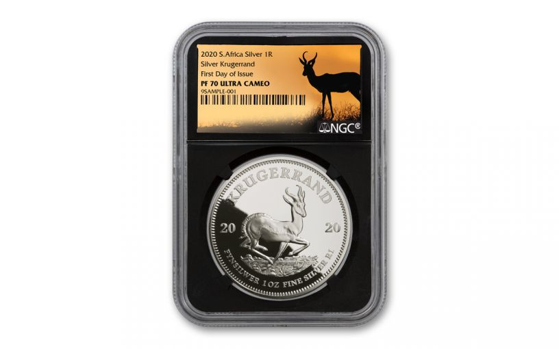 2020 South Africa 1-oz Silver Krugerrand Proof NGC PF70UC First Day of Issue w/Springbok Label