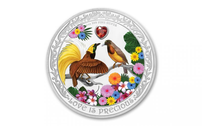 2020 Niue $2 1-oz Silver Love Is Precious Birds of Paradise Colorized Proof