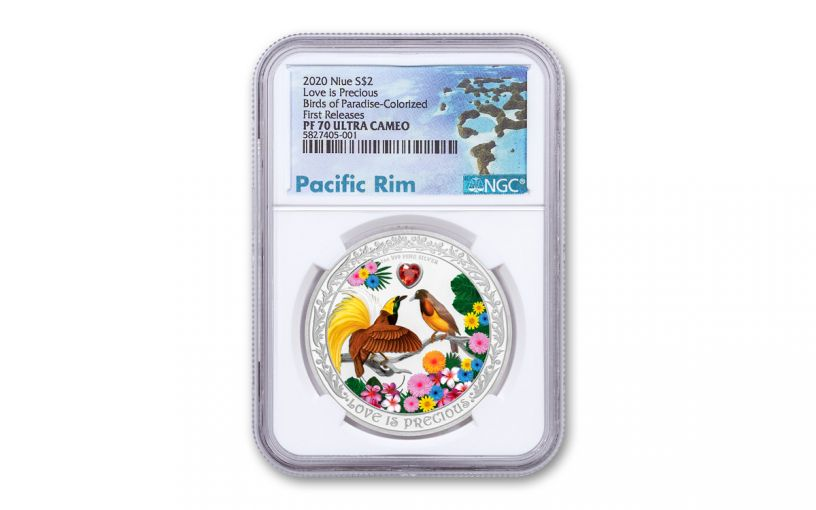 2020 Niue $2 1-oz Silver Love Is Precious Birds of Paradise Colorized Proof NGC PF70UC First Releases w/Pacific Rim Label