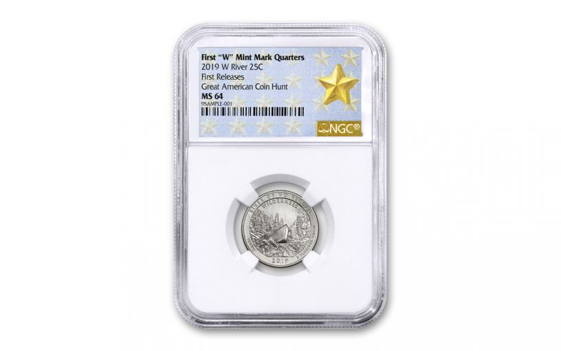 2019-W 25¢ River of No Return America the Beautiful Quarter NGC MS64 First Releases w/Gold Star Label