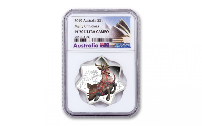 2019 Australia $1 1-oz Silver Star-Shaped Christmas Reindeer Colorized Proof NGC PF70UC