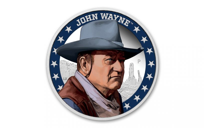 2020 Tuvalu $1 1-oz Silver John Wayne Colorized Proof