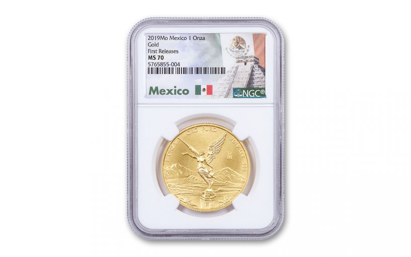 2019-Mo Mexico 1-oz Gold Libertad NGC MS70 First Releases w/Mexico Label