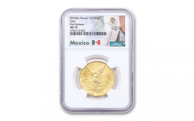 2019-Mo Mexico 1/2-oz Gold Libertad NGC MS70 First Releases w/Mexico Label