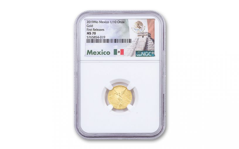 2019-Mo Mexico 1/10-oz Gold Libertad NGC MS70 First Releases w/Mexico Label