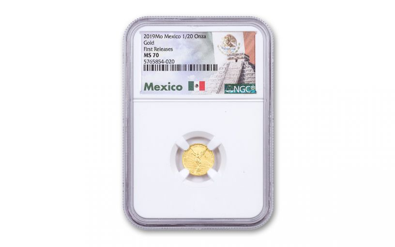 2019-Mo Mexico 1/20-oz Gold Libertad NGC MS70 First Releases w/Mexico Label