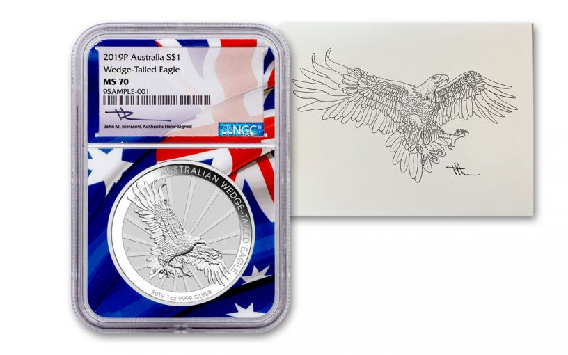 2019 Australia $1 1-oz Silver Wedge Tailed Eagle NGC MS70 w/Flag Core & Mercanti Signed Print