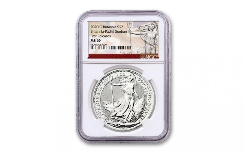 2020 Great Britain £2 1-oz Silver Britannia NGC MS69 First Releases w/Britannia Label