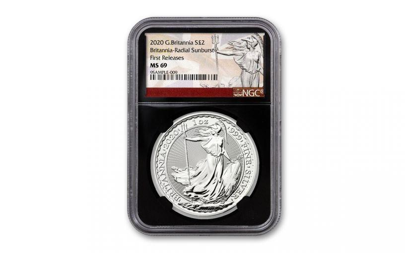 2020 Great Britain £2 1-oz Silver Britannia NGC MS69 First Releases w/Black Core & Britannia Label