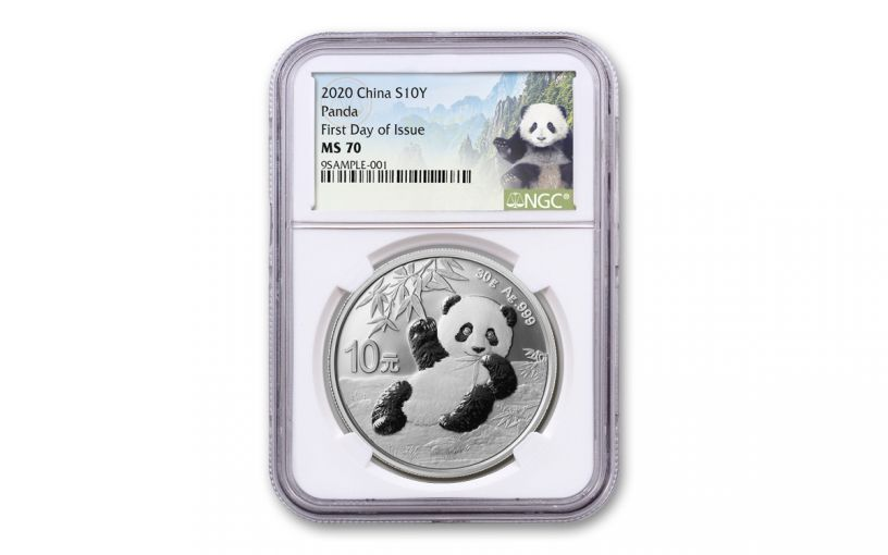 2020 China 30-Gram Silver Panda NGC MS70 First Day of Issue w/Panda Label