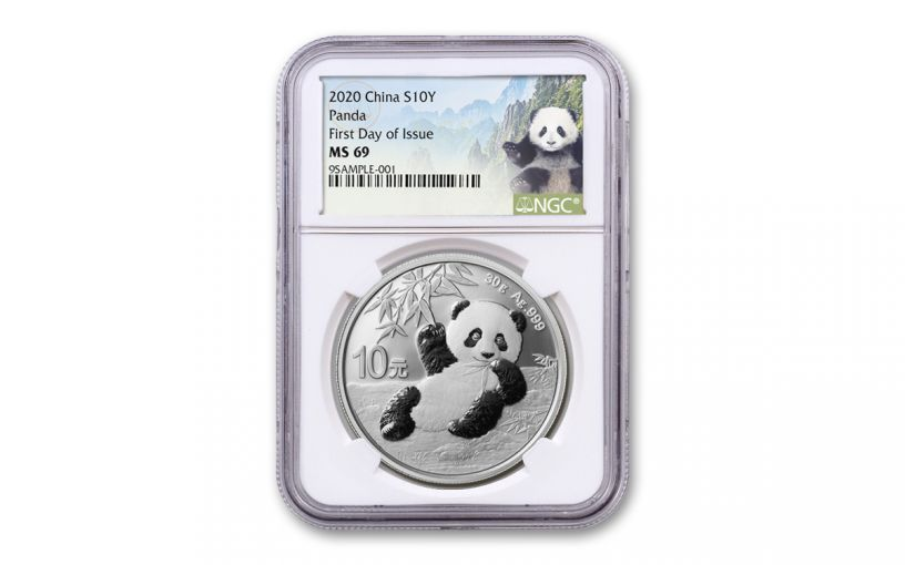 2020 China 30-Gram Silver Panda NGC MS69 First Day of Issue w/Panda Label