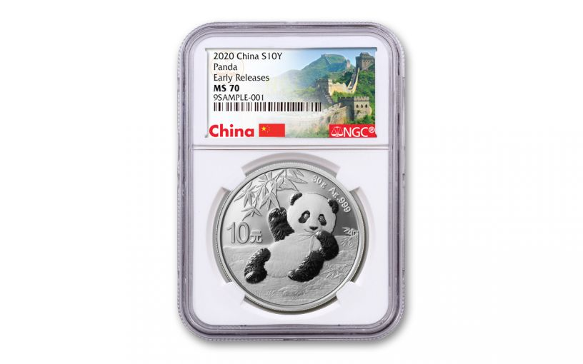 2020 China 30-Gram Silver Panda NGC MS70 Early Releases w/Great Wall Label