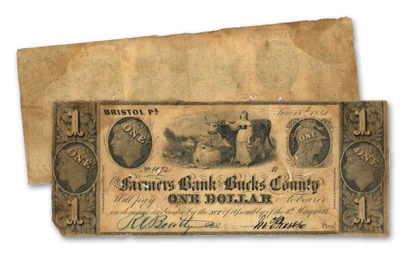 1841 $1 Farmers Bank of Bucks County Obsolete Note Circulated